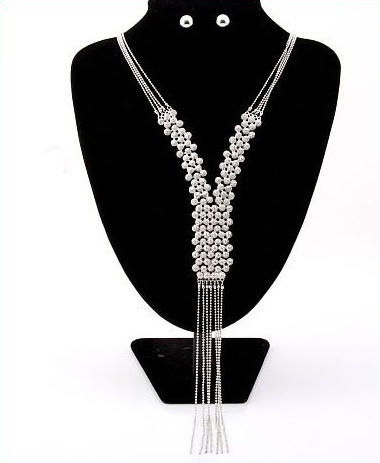 Silver Beaded Fringe Lariat Necklace