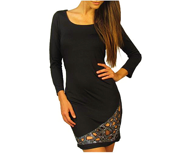 Black Rhinestone Cut Out Dress