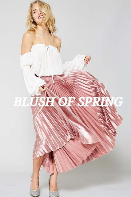 Spring, skirts, pink , blush, off the shoulder, midi