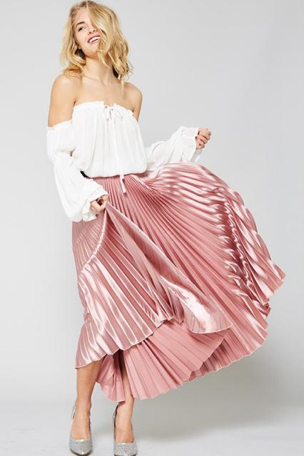 Pleated Mini Skirt Accordion Pleats Crop Top Treaded Loafers Platform