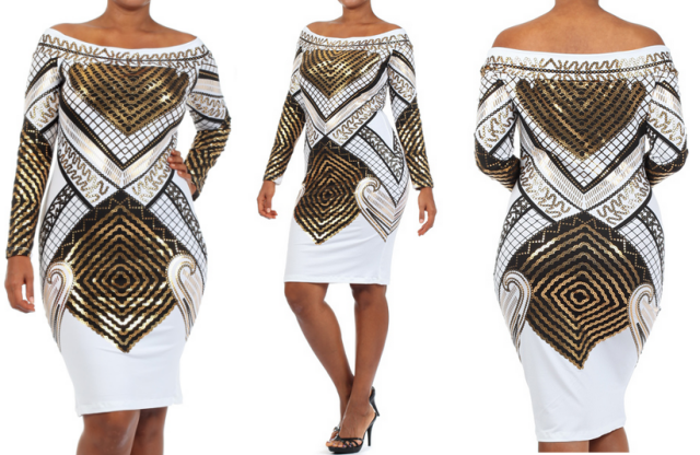 PLUS SIZE EGYPTIAN PRINT WHITE GOLD OFF SHOULDER BODYCON DRESS