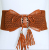 Brown Lace-Up Tassel Woven Elastic Belt