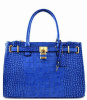 Blue Faux Leather Croc Structured Oversized Tote Handbag