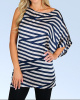 Navy Striped Draped Asymmetrical One Shoulder Tunic Blouse