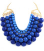 Blue Multilayered Oversized Pearl Bib Necklace