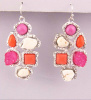 Silver Multi Gemstone Cluster Drusy Chandelier Earrings