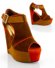 Brown Multi Color Block  Wedge Platform Sandals