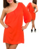 Orange One Sleeve Chiffon Asymmetric Caftan Dress