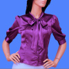 Purple Satin Tie-Neck 3/4 Sleeves Bow Blouse