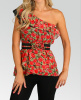 Red Floral Roses Multi Print One Shoulder Ruffle Top