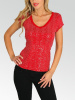 Red  Sequined V-Neck Cap Sleeves  Jersey Top