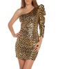 Gold Metallic Leopard Print One Sleeve Dress