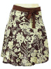Brown Floral Pleats A-Line Knee Length Skirt