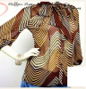 Brown Striped Print Chiffon Tie- Neck Bow Blouse