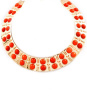 Gold Plated Orange Resin Choker Necklace