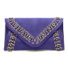 Purple Suede-Leather Braided Gold Trimmed Clutch