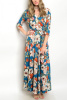 Teal Floral Multi Wrap Jersey Maxi Dress