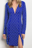 Blue Geometric Studded Long Sleeve Double Slit Bodycon  Dress