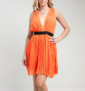 Orange Pleated Plunge Neck Grecian Dress