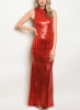 Red Geometric Sequin High Neck Open Back Mermaid Maxi Dress