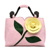 Pink 3D Flower Blossom  Wooden Top Handle Bag