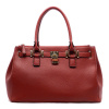 Red Burgundy  Classic Padlock Pebble Satchel Handbag