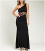 Black One Shoulder Lace Waist Maxi Dress