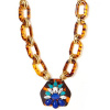 Tortoise Cobalt Teardrop Crystal Link Necklace