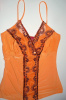 Orange Beaded Sequin Lace V- Neck Top
