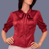 Red Satin Tie-Neck 3/4 Sleeves Bow Blouse
