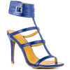 Blue Strappy Wrap Ankle Heel Sandals