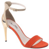 Orange Gold Color Block  Stiletto Heel Sandals