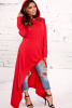 Red Cowl Neck Hoodie Asymmetrical Long sleeve Top