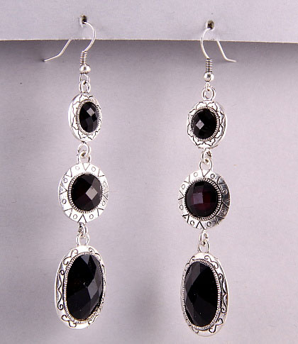 Black Onyx Three Stone Teardrop Drop Earrings
