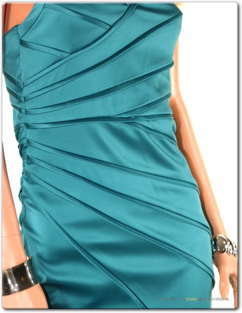 Teal Blue Pleated Halterneck Cocktail Dress
