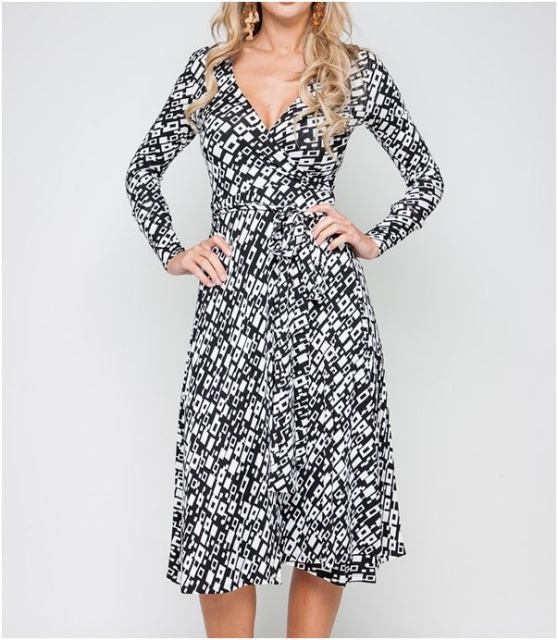 black print wrap dress