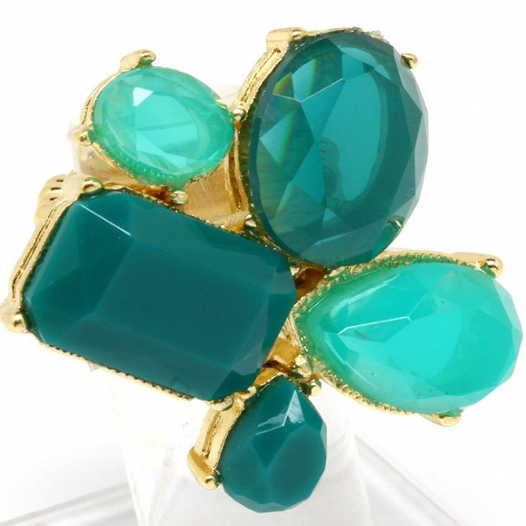 Emerald Multishape Cluster Cocktail Stretch Ring