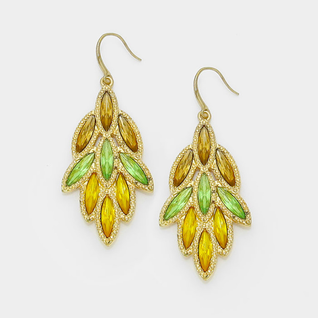 Gold Crystal Leaf Cluster Dangle Cascading Chandelier Earrings