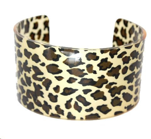Leopard Brown Animal Print Multicolor Cuff Bracelet Set