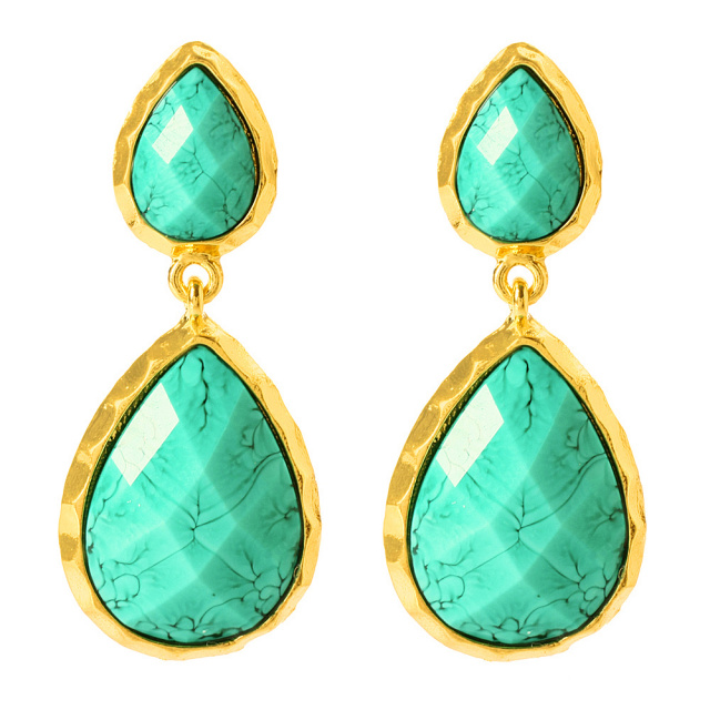 turquoise teardrop gold earrings