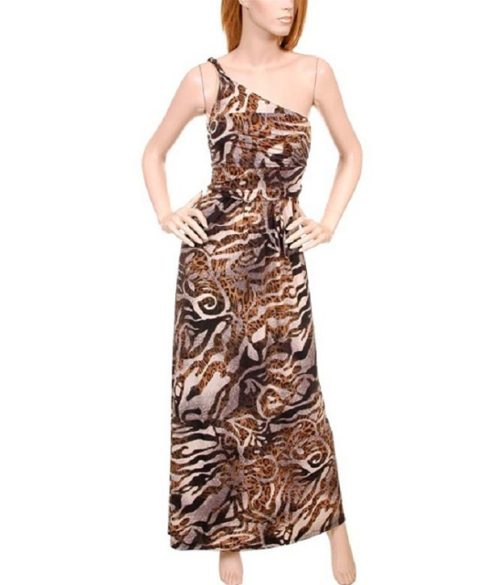 Leopard Print  One-Shoulder Asymmetrical Maxi Jersey Dress