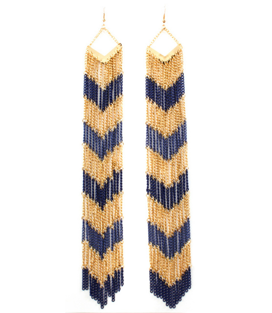 Blue Tribal Fringe Tassel Duster Earrings