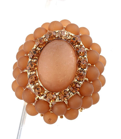 Brown Large Oval  Beaded Stretch Cluster Cocktail Ring