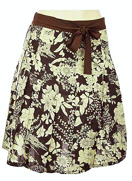 Brown A-Line Pleated Floral Multi Print Belted Skirt