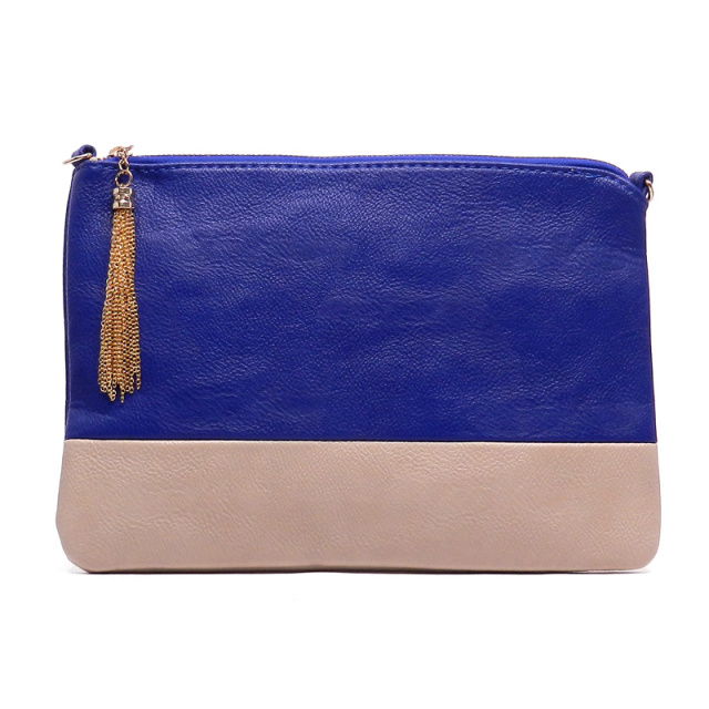 blue colorblock clutch