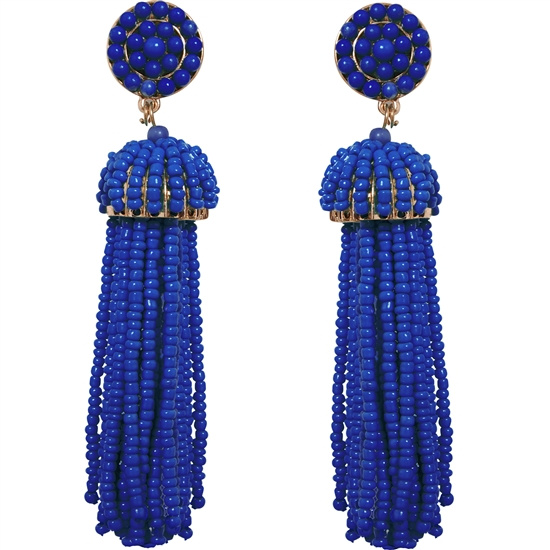 Blue Violet Long  Bead Tassel Earrings