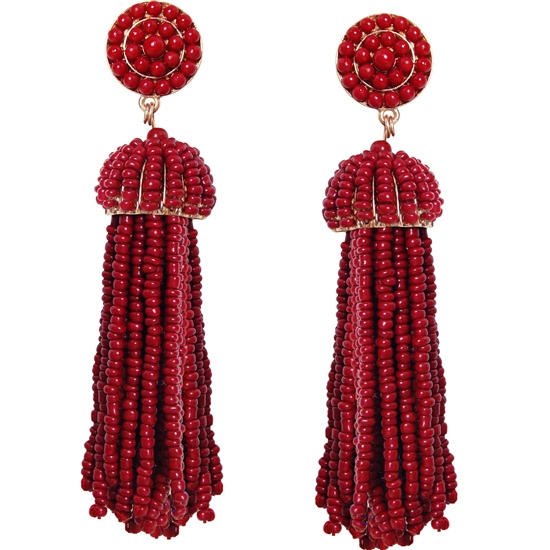 Burgundy Long  Bead Tassel Earrings