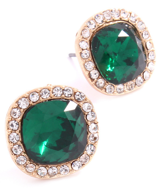 Emerald Crystal Stud Post Round Earrings