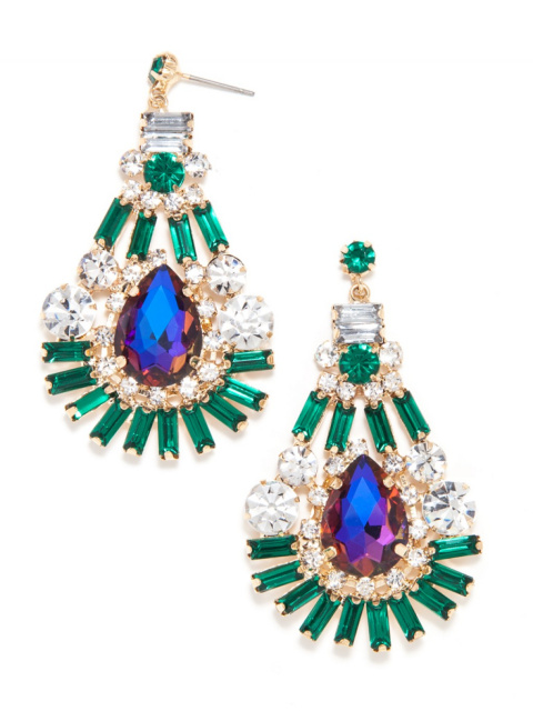 Emerald Mystic Topaz Fan Teardrop Earrings