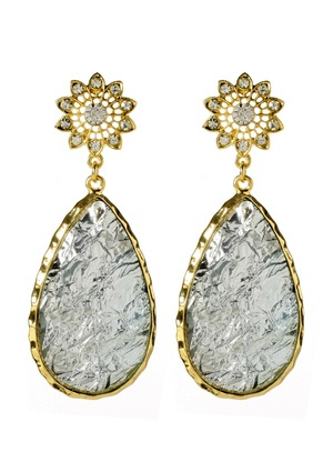 Amrita Singh Cassia Spring Crystal Aqua Gold Earrings